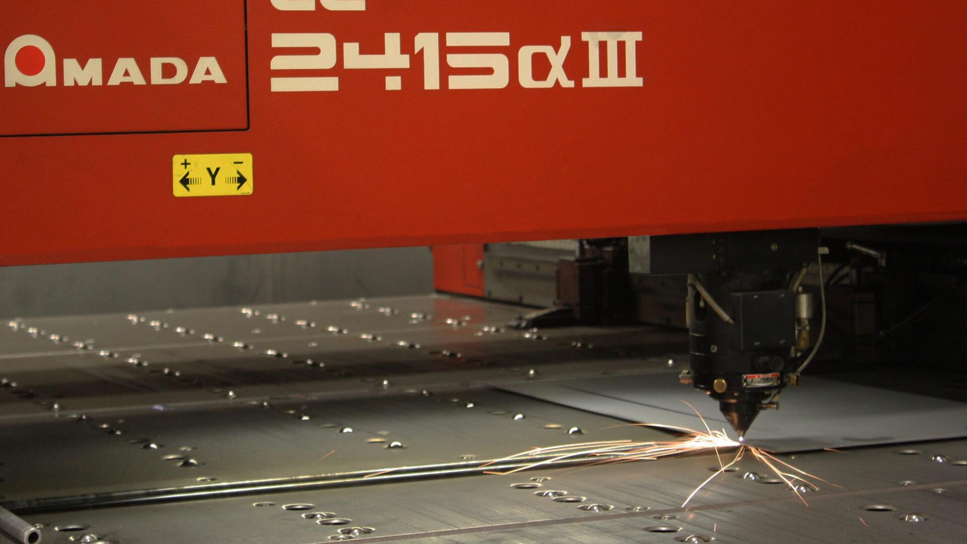 machine cutting sheet of metal